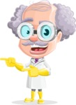 Professor Cartoon Character АКА Earl Crazy-Curls - Pointing with Both Hands