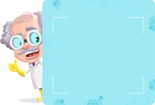 Professor Cartoon Character АКА Earl Crazy-Curls - With Big Futuristic Presentation Board