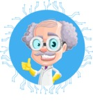 Professor Cartoon Character АКА Earl Crazy-Curls - With Futuristic Technology Background