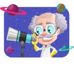 Professor Cartoon Character АКА Earl Crazy-Curls - With Space and Planets Background