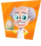 Professor Cartoon Character АКА Earl Crazy-Curls - With Simple Colorful Background