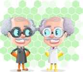 Professor Cartoon Character АКА Earl Crazy-Curls - With Futuristic Nano Technology Background