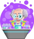 Professor Cartoon Character АКА Earl Crazy-Curls - With Circle Science Background