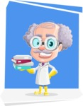 Professor Cartoon Character АКА Earl Crazy-Curls - With Flat Square Background
