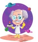 Professor Cartoon Character АКА Earl Crazy-Curls - With Martian Background