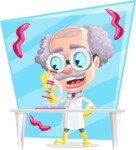 Professor Cartoon Character АКА Earl Crazy-Curls - With Microbiology Background