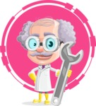 Professor Cartoon Character АКА Earl Crazy-Curls - With Flat Circle Background