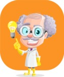 Professor Cartoon Character АКА Earl Crazy-Curls - With Rounded Background