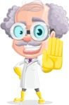 Professor Cartoon Character АКА Earl Crazy-Curls - Making Stop with a Hand