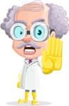 Professor Cartoon Character АКА Earl Crazy-Curls - Making Stop Gesture with Angry Face