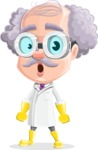 Professor Cartoon Character АКА Earl Crazy-Curls - With Stunned Face