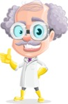 Professor Cartoon Character АКА Earl Crazy-Curls - Making Thumbs Up