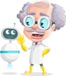 Professor Cartoon Character АКА Earl Crazy-Curls - With a Robot Assistant