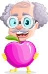 Professor Cartoon Character АКА Earl Crazy-Curls - With GMO Apple