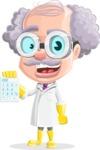 Professor Cartoon Character АКА Earl Crazy-Curls - With Calculator