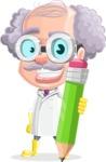 Professor Cartoon Character АКА Earl Crazy-Curls - Holding Pencil