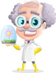 Professor Cartoon Character АКА Earl Crazy-Curls - With Ecology Concept