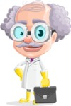 Professor Cartoon Character АКА Earl Crazy-Curls - With Briefcase