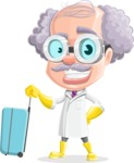 Professor Cartoon Character АКА Earl Crazy-Curls - Traveling with Suitcase