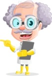 Professor Cartoon Character АКА Earl Crazy-Curls - Showing Notepad