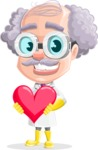 Professor Cartoon Character АКА Earl Crazy-Curls - Holding Heart