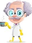 Professor Cartoon Character АКА Earl Crazy-Curls - Drinking Coffee