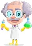 Professor Cartoon Character АКА Earl Crazy-Curls - Holding Chemical Flasks