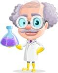 Professor Cartoon Character АКА Earl Crazy-Curls - Holding Chemistry Beaker