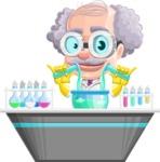 Professor Cartoon Character АКА Earl Crazy-Curls - In a Laboratory