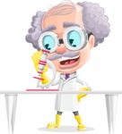 Professor Cartoon Character АКА Earl Crazy-Curls - Using a Microscope in a Lab