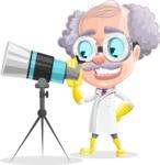 Professor Cartoon Character АКА Earl Crazy-Curls - Looking Through a Telescope