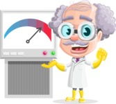 Professor Cartoon Character АКА Earl Crazy-Curls - With a Science Machine