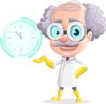 Professor Cartoon Character АКА Earl Crazy-Curls - Showing Futuristic Clock