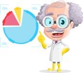 Professor Cartoon Character АКА Earl Crazy-Curls - With Statistics Graph
