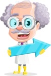 Professor Cartoon Character АКА Earl Crazy-Curls - With Forward Arrow