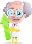 Professor Cartoon Character АКА Earl Crazy-Curls - With Up Arrow