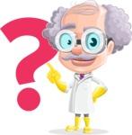 Professor Cartoon Character АКА Earl Crazy-Curls - With Question Mark
