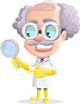 Professor Cartoon Character АКА Earl Crazy-Curls - Searching with Magnifying Glass