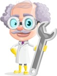 Professor Cartoon Character АКА Earl Crazy-Curls - With Repairing Tools - Wrench
