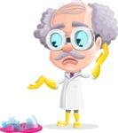 Professor Cartoon Character АКА Earl Crazy-Curls - With a Broken Flask