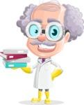 Professor Cartoon Character АКА Earl Crazy-Curls - With Books