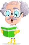 Professor Cartoon Character АКА Earl Crazy-Curls - Reading a Book