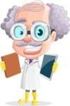 Professor Cartoon Character АКА Earl Crazy-Curls - Choosing Between Book and Tablet