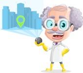 Professor Cartoon Character АКА Earl Crazy-Curls - Showing Hologram Map