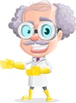 Professor Cartoon Character АКА Earl Crazy-Curls - Showing with Both Hands and a Smile