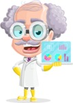 Professor Cartoon Character АКА Earl Crazy-Curls - Holding Futuristic Tablet Concept
