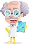 Professor Cartoon Character АКА Earl Crazy-Curls - With Tablet