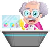 Professor Cartoon Character АКА Earl Crazy-Curls - Working on a Futuristic Modern Desk