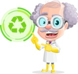 Professor Cartoon Character АКА Earl Crazy-Curls - With Ecology Sign