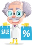 Professor Cartoon Character АКА Earl Crazy-Curls - Holding Shopping Bags